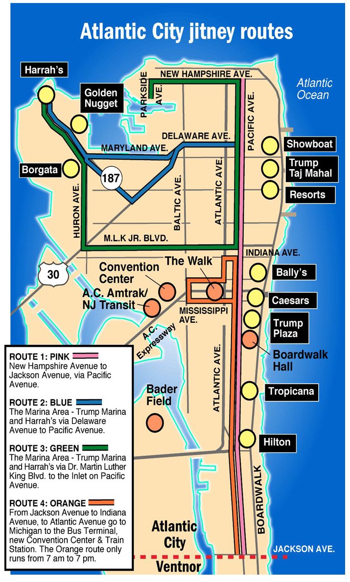 Map of Jitney Stops